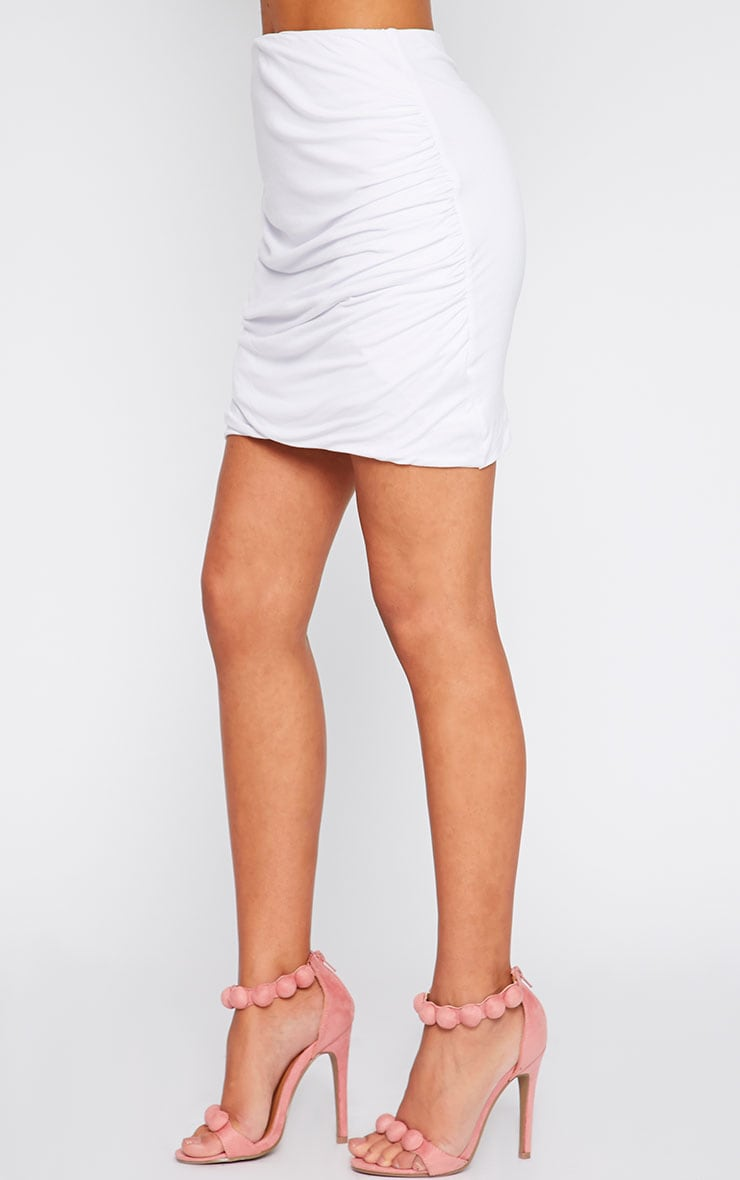 White Jersey Ruched Mini Skirt  3