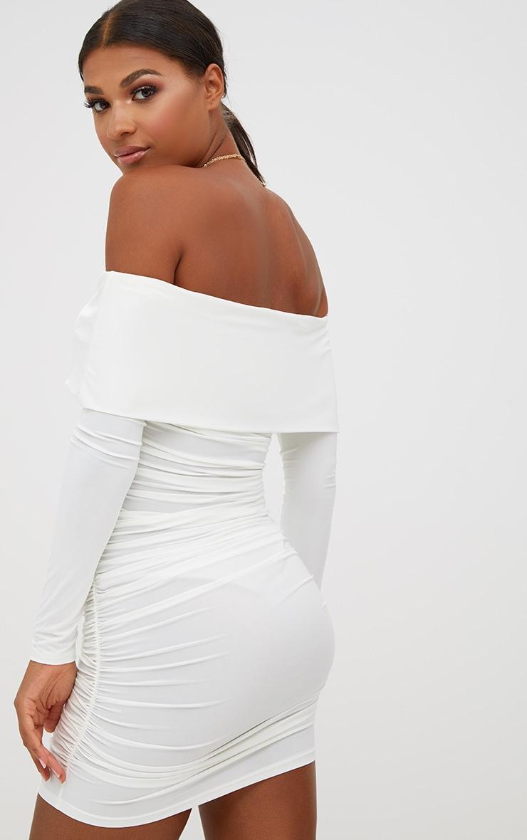 White Long Sleeve Bardot Ruched Bodycon Dress 2