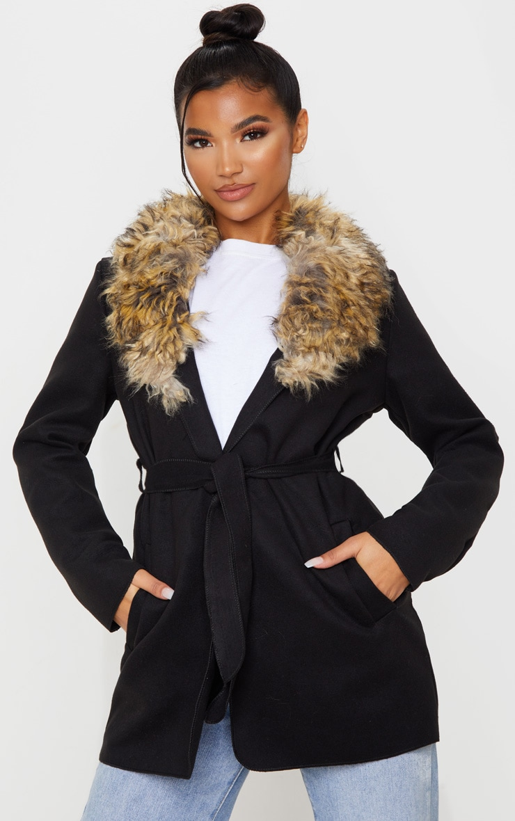 Lydia Black Faux Fur Trimmed Belted Coat 1