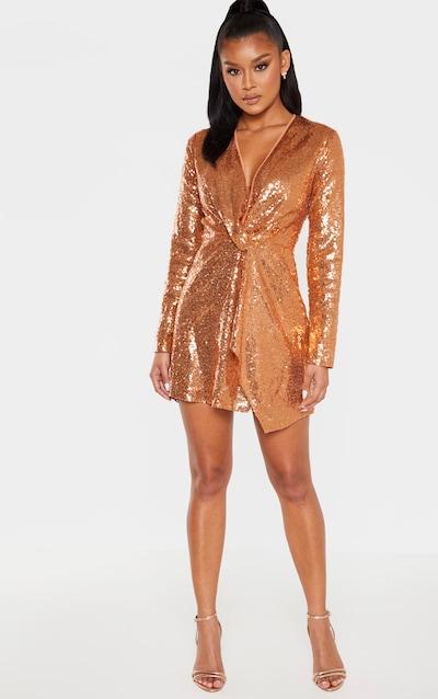Bronze Sequin Twist Front Bodycon Dress