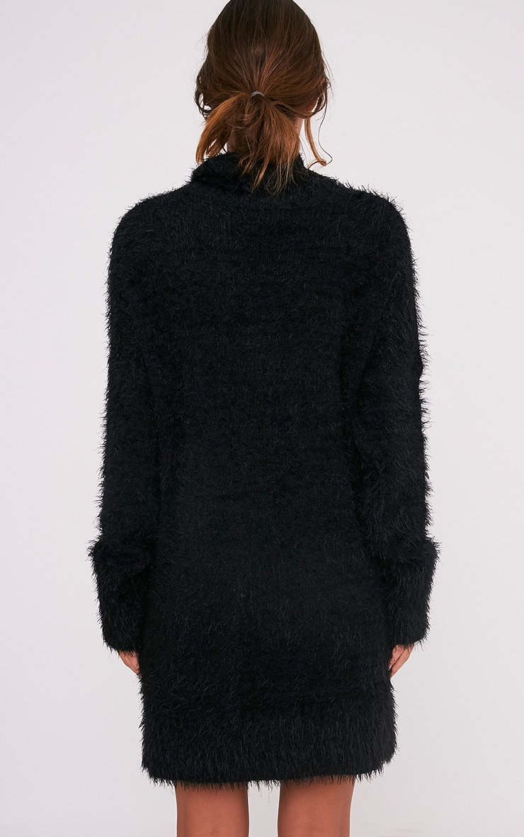 Fontaine Black Oversized Mohair Knit Jumper Dress 2