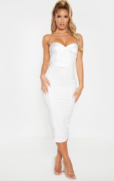 White Button Detail Belted Bandeau Midi Dress
