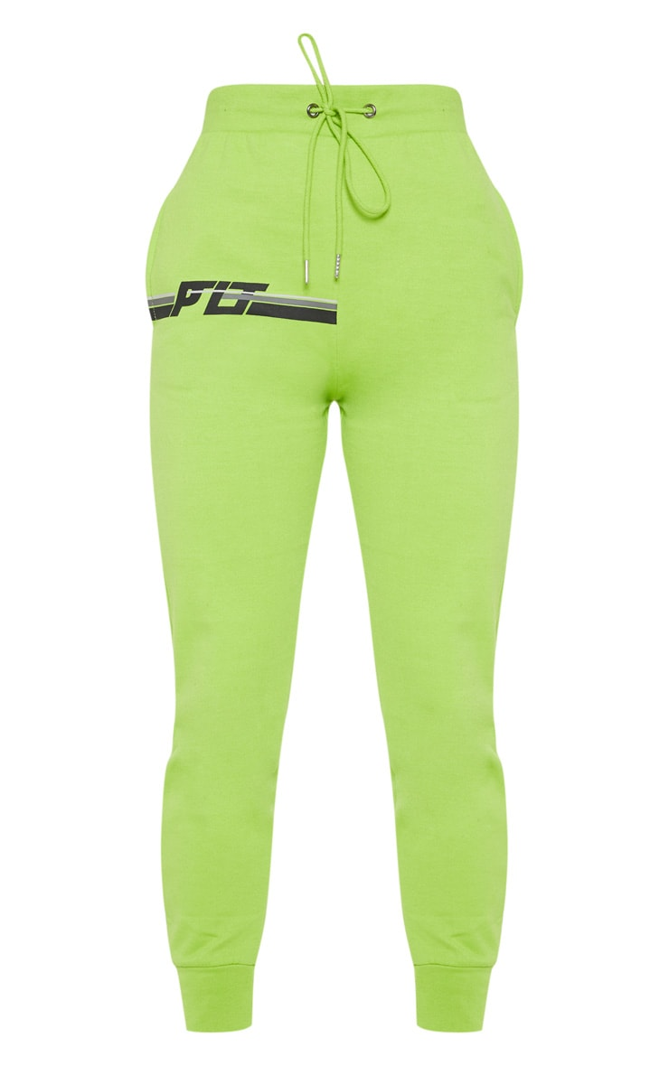 PRETTYLITTLETHING Neon Lime Printed Multi Stripe Jogger 3