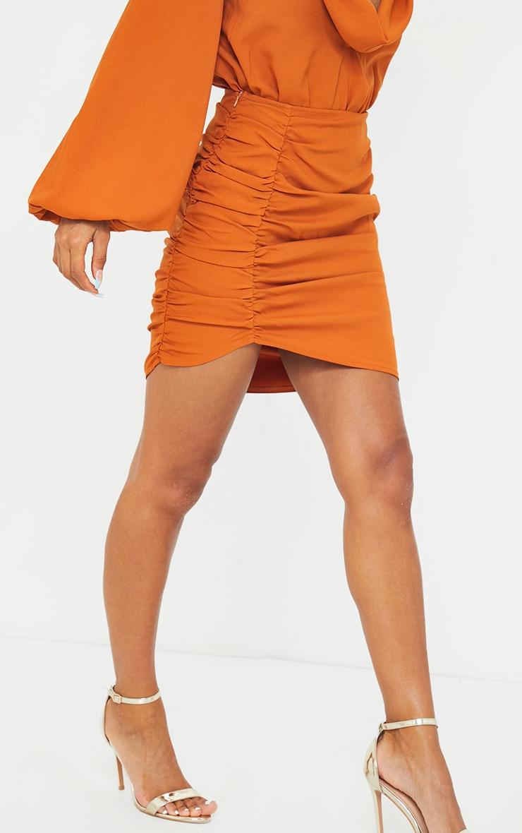 Burnt Orange Woven Ruched Seam Front Mini Skirt 2