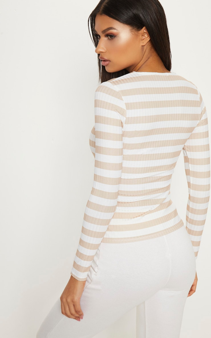 Nude Rib Stripe Long Sleeve Fitted Top     2