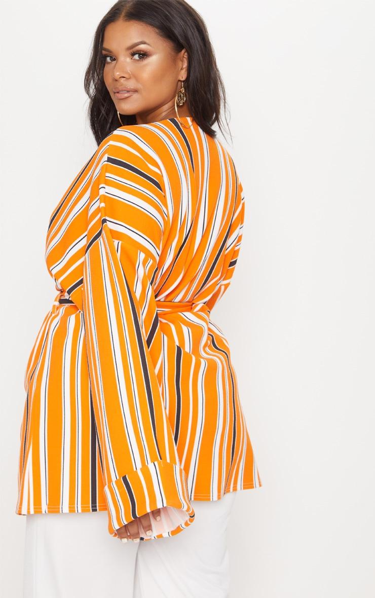 Plus Orange Striped Belted Oversized Sleeve Blazer 2
