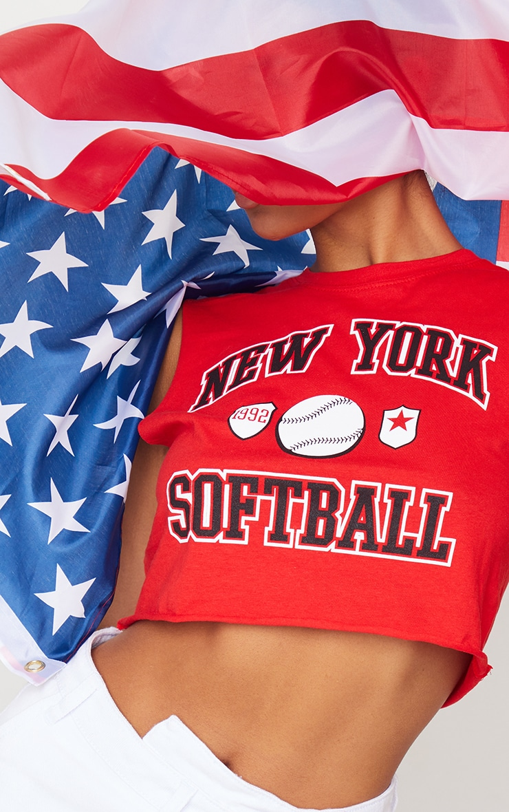 New York Red Softball Cropped Vest 4