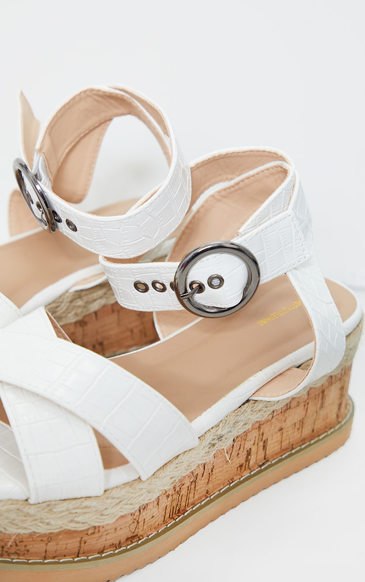 White Cross Strap Cork Flatforms 2