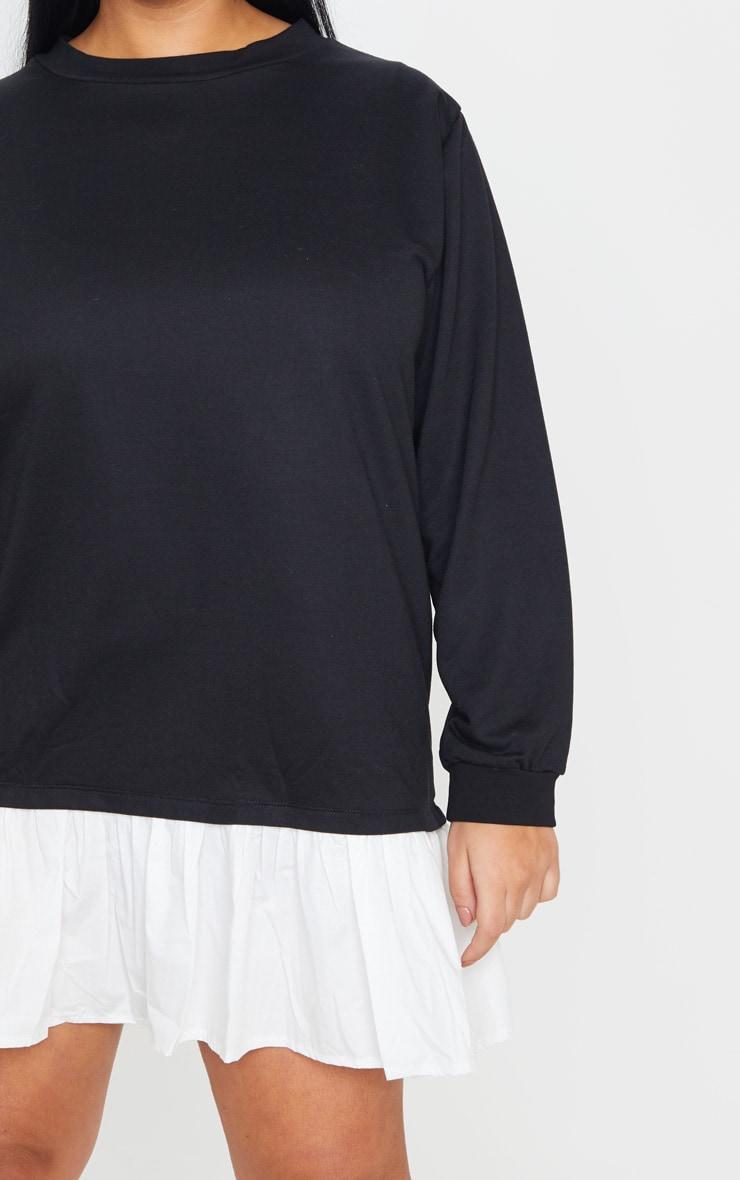 Plus Black Frill Hem Sweat Dress 5