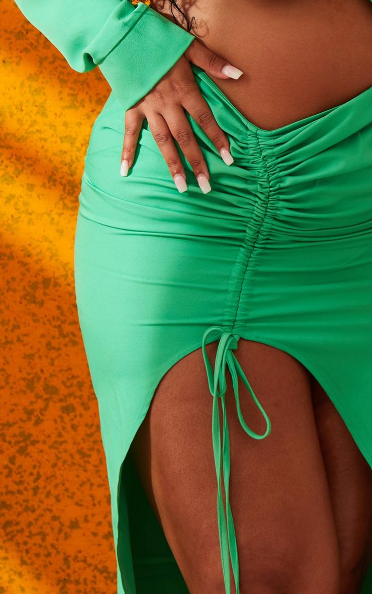 Plus Bright Green Woven Ruched Tie Front Split Leg Midi Skirt 4