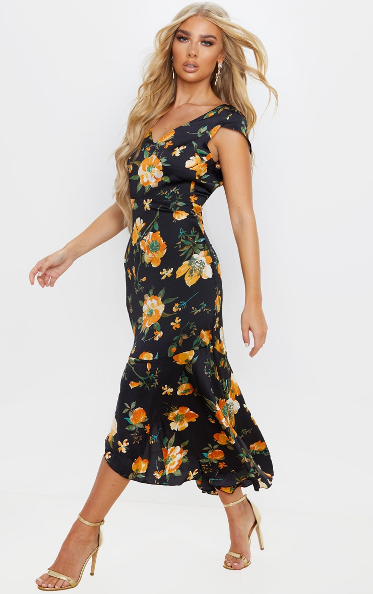 Black Floral Print Ruched Skirt Frill Hem Midi Dress 4