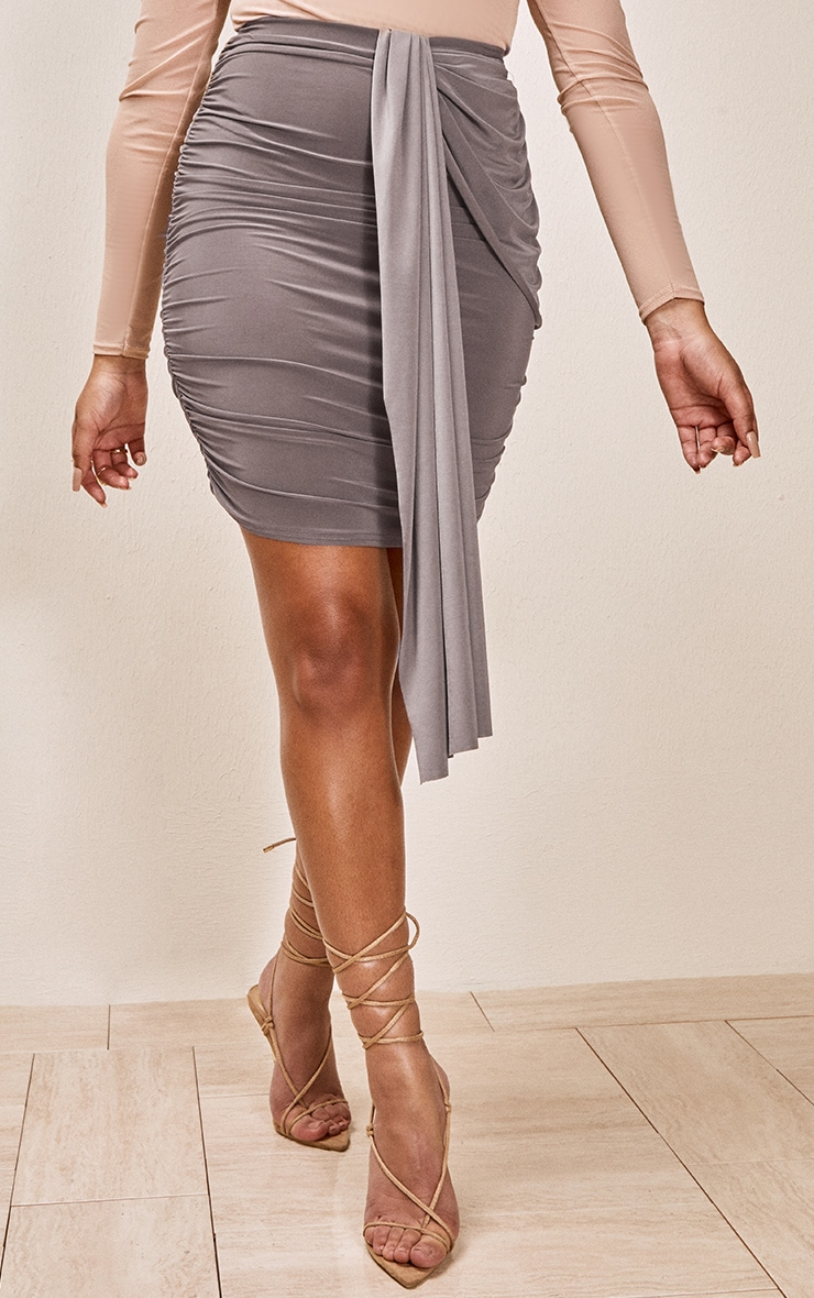 Taupe Slinky Foldover Ruched Mini Skirt 2