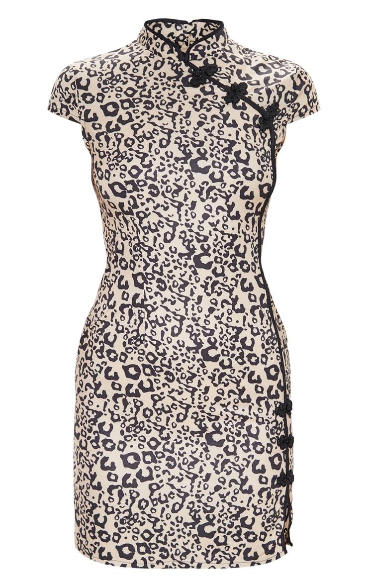 Brown Leopard Oriental Bodycon Dress 3