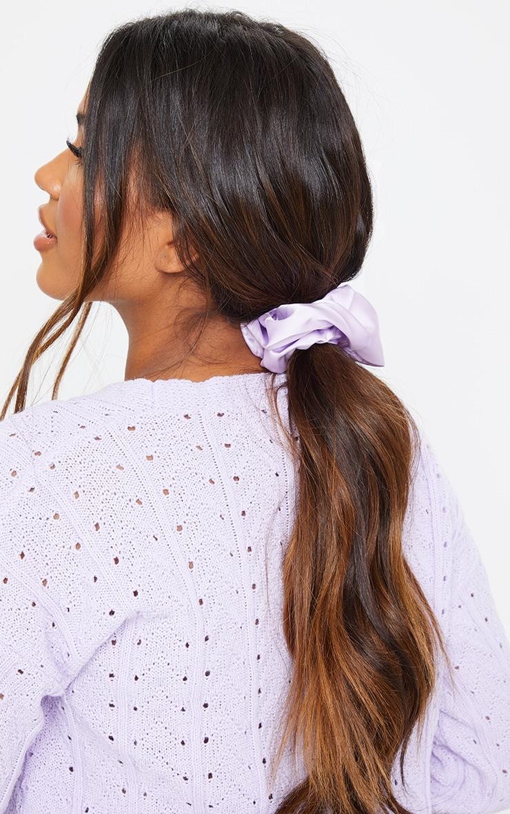Lilac Satin Scrunchie 1
