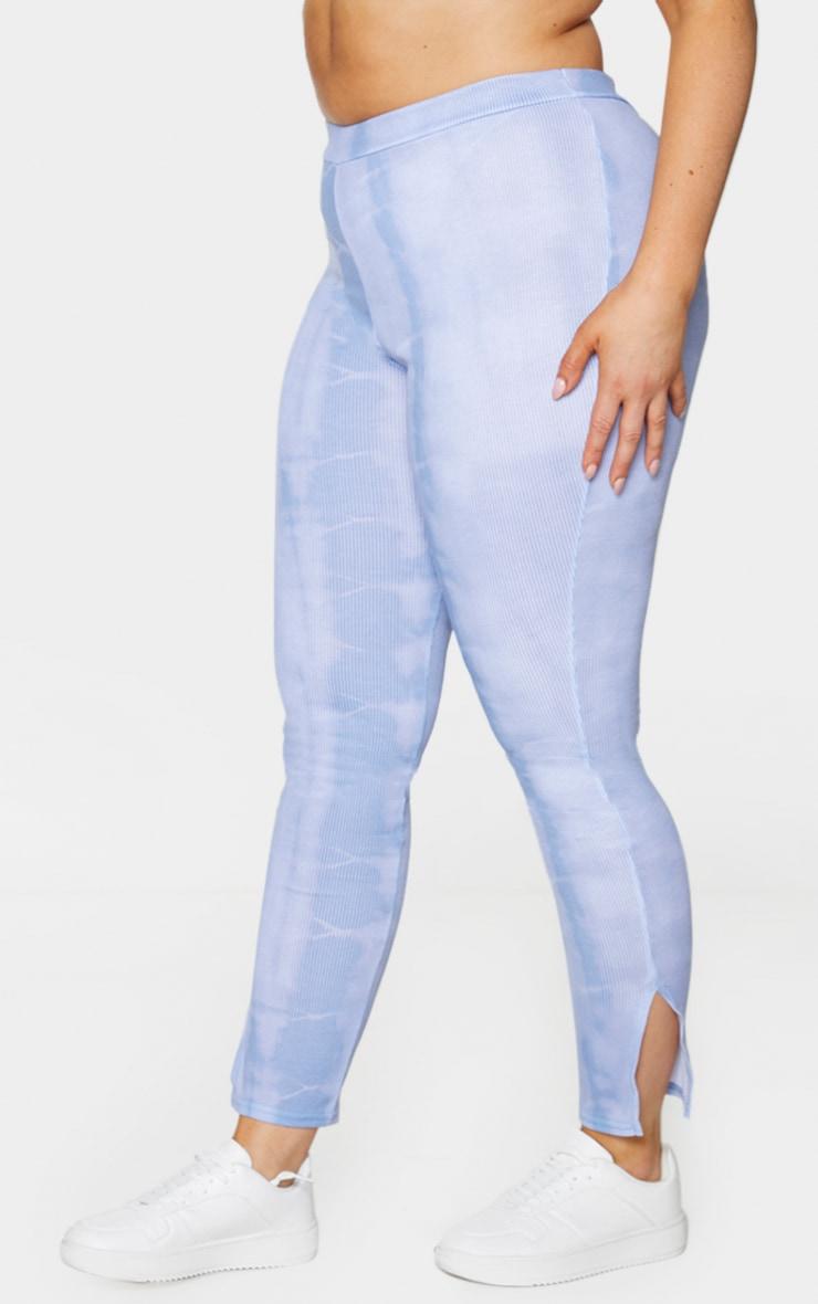Plus Dusty Blue Tie Dye Rib Split Hem Leggings 2
