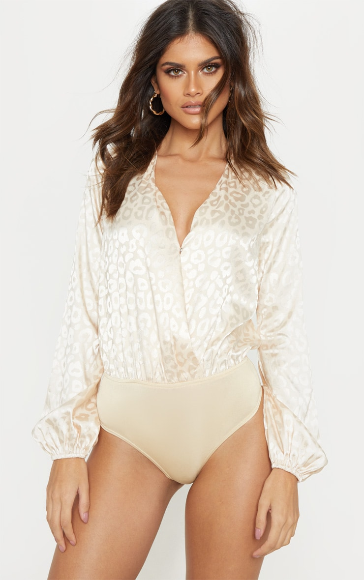 Champagne Printed Satin Plunge Long Sleeve Bodysuit 2