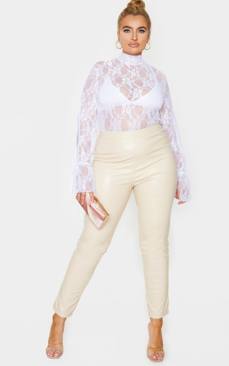 Plus White Lace High Neck Frill Cuff Blouse 1