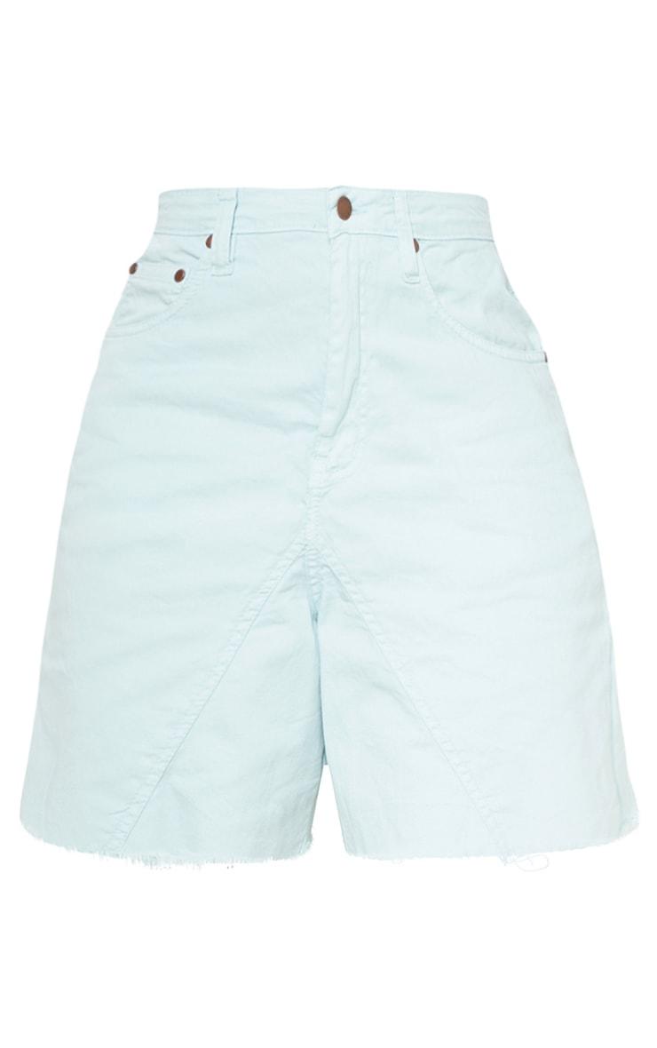 Petite Mint Denim Longline Shorts 3