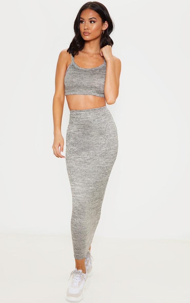 Jupe longue en tricot léger gris pierre 1