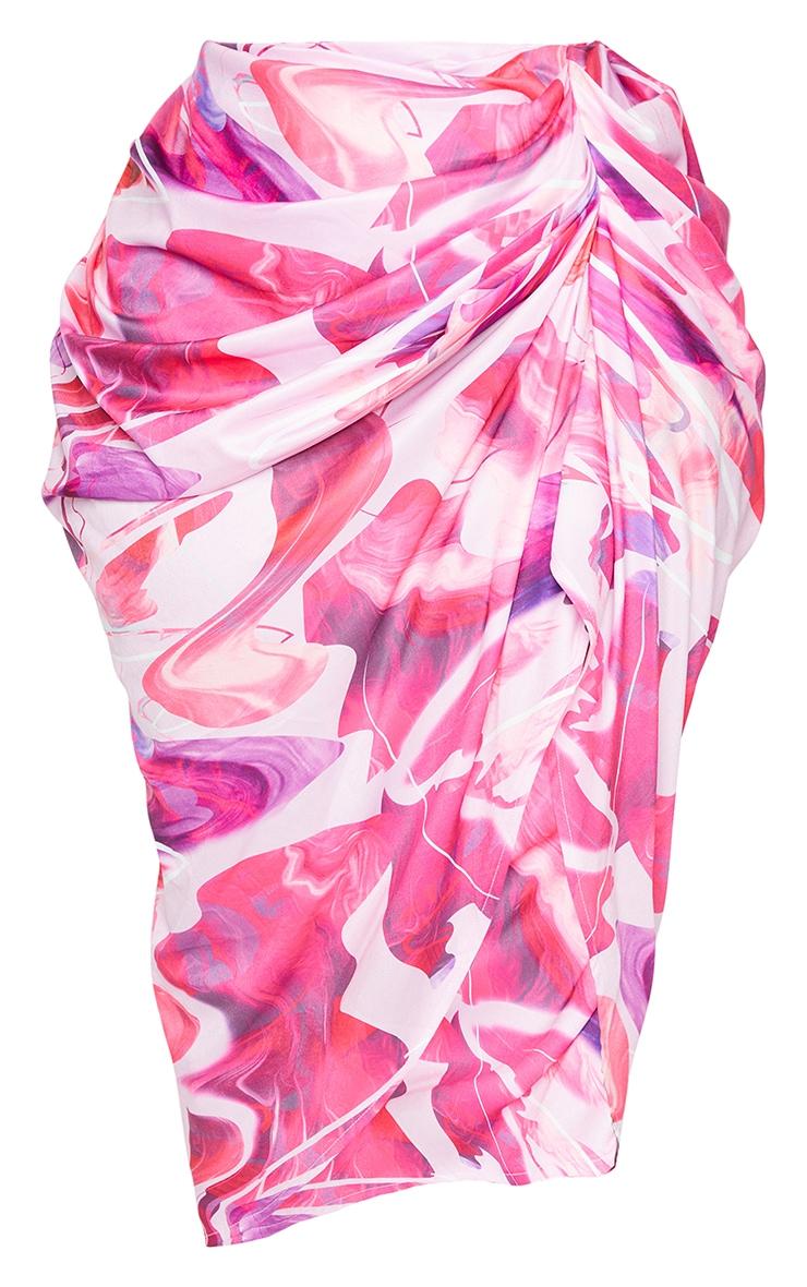 PLT Plus - Jupe mi-longue rose à côté froncé 5