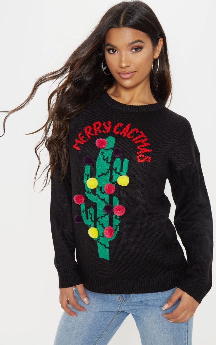 Black Cactus Christmas Jumper  1
