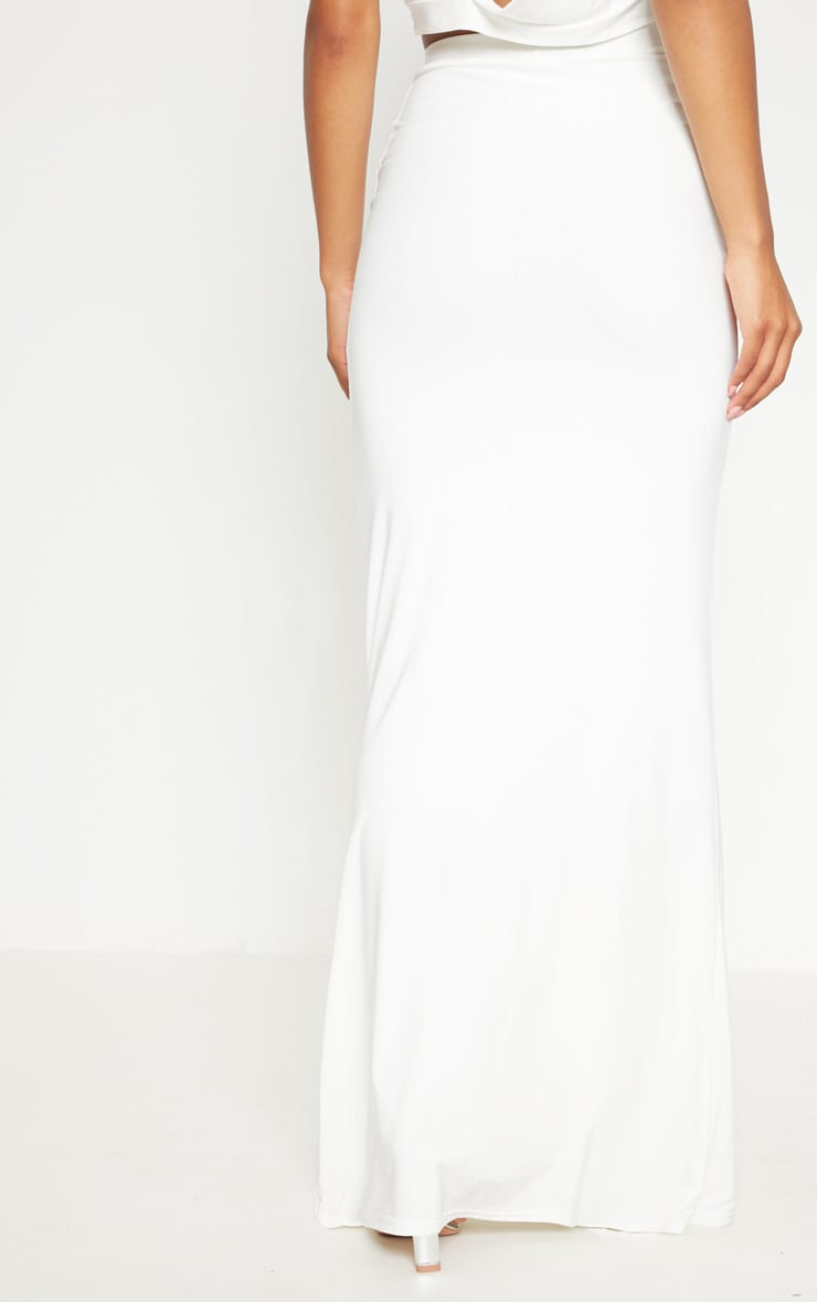 Cream Slinky Ruched Detail Maxi Skirt 4