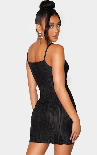 Black Strappy Plisse Tie Waist Bodycon Dress