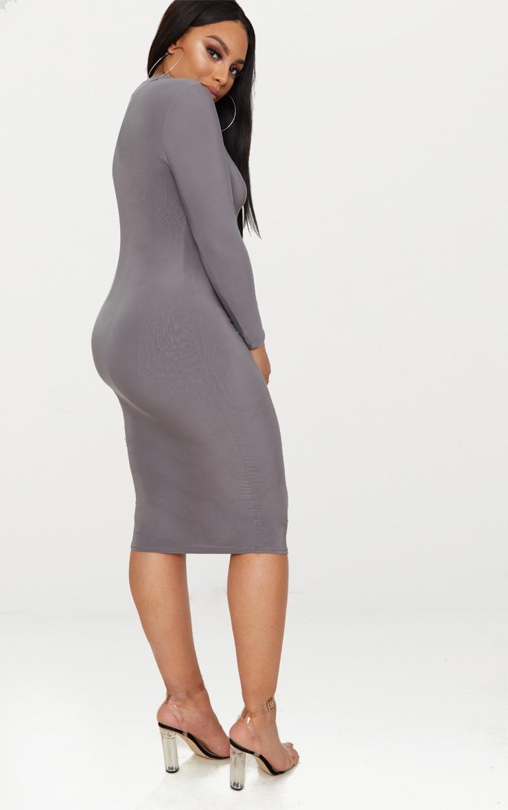 Plus Charcoal Grey Second Skin Slinky High Neck Midaxi Dress 2