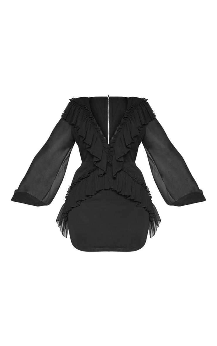 PLT Plus - Robe noire moulante volantée en mousseline de soie 3