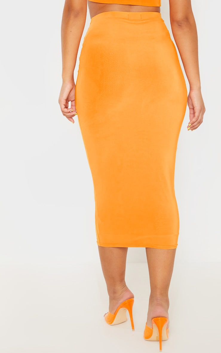 Hot Orange Second Skin Slinky Longline Midi Skirt 3