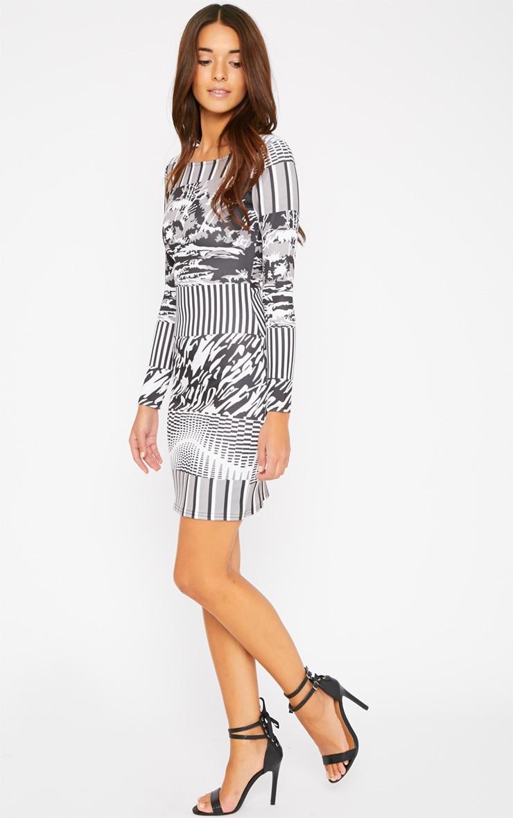 Olympia Monochrome Print Bodycon Dress 3