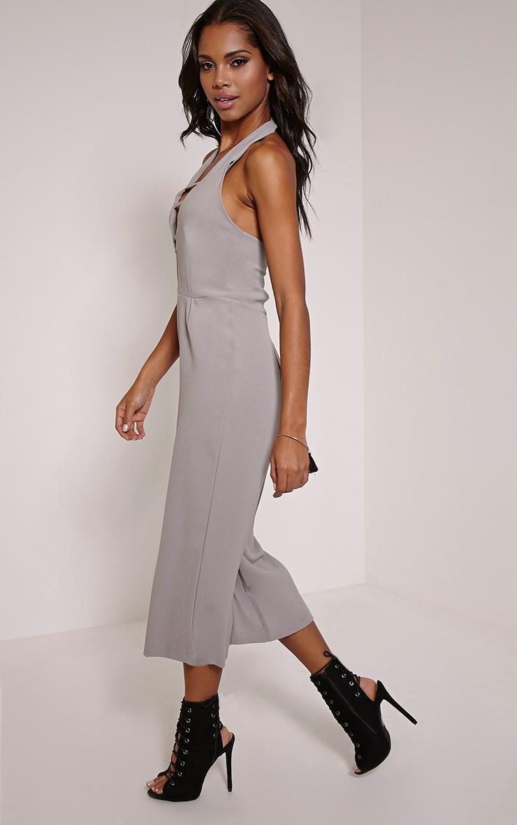 Rena Grey Strap Detail Culotte Jumpsuit 3