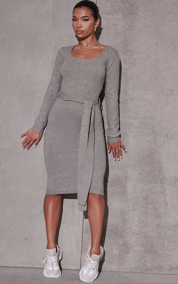 Khaki Recycled Belted Square Neck Knitted Midi Dress 1