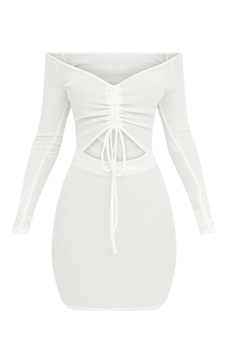 White Ribbed Ruched Plunge Bodycon Dress 3