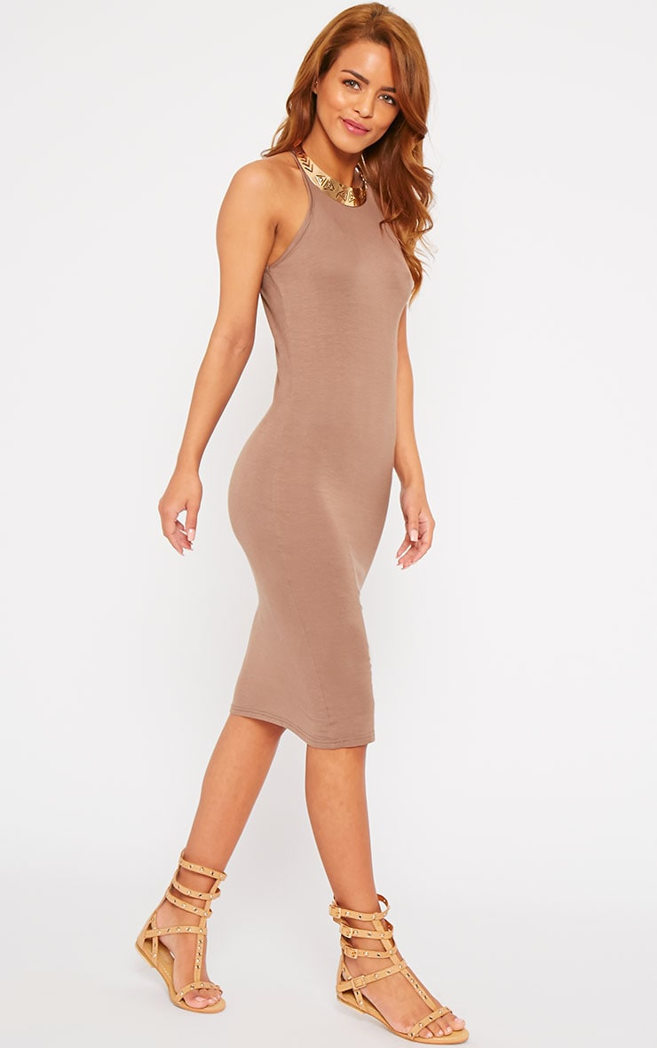 Basic Mocha Thin Strap Racer Neck Jersey Midi Dress 4