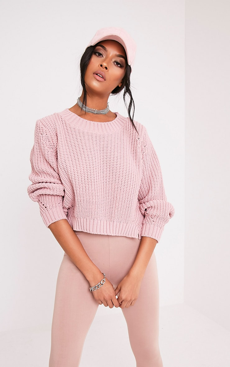Aine Blush Fisherman Knit Cropped Jumper 1