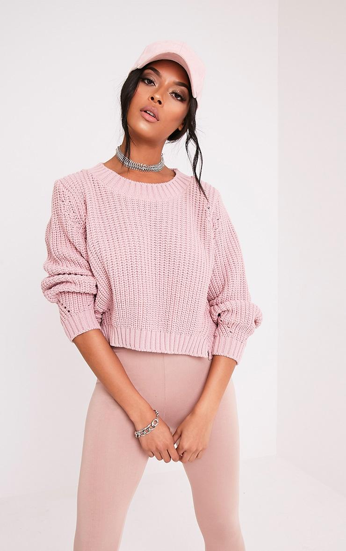 Aine pull court tricoté style pêcheur rose pâle 1