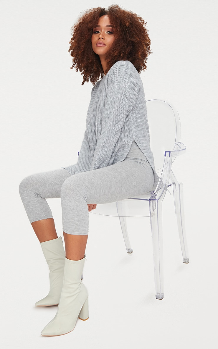 Rexx Grey Round Neck Side Split Jumper 3