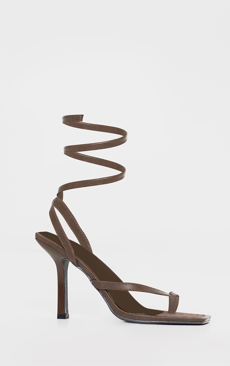 Brown Square Toe Spring Ankle Strap Heel Sandals 3