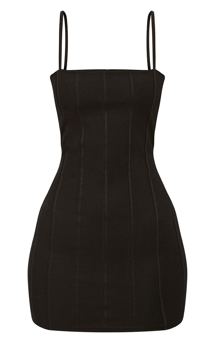 Black Straight Neck Bandage Bodycon Dress 3