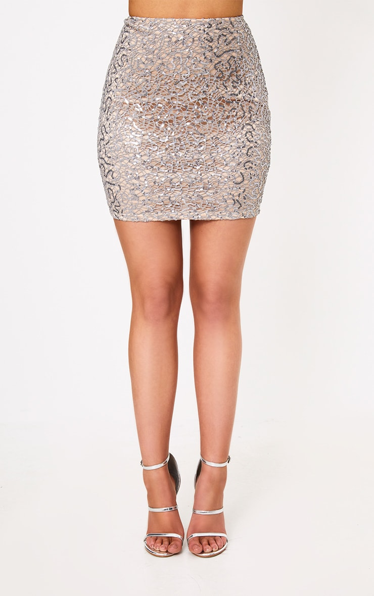 Rosaria Grey Sparkle Web Lace Mini Skirt 2