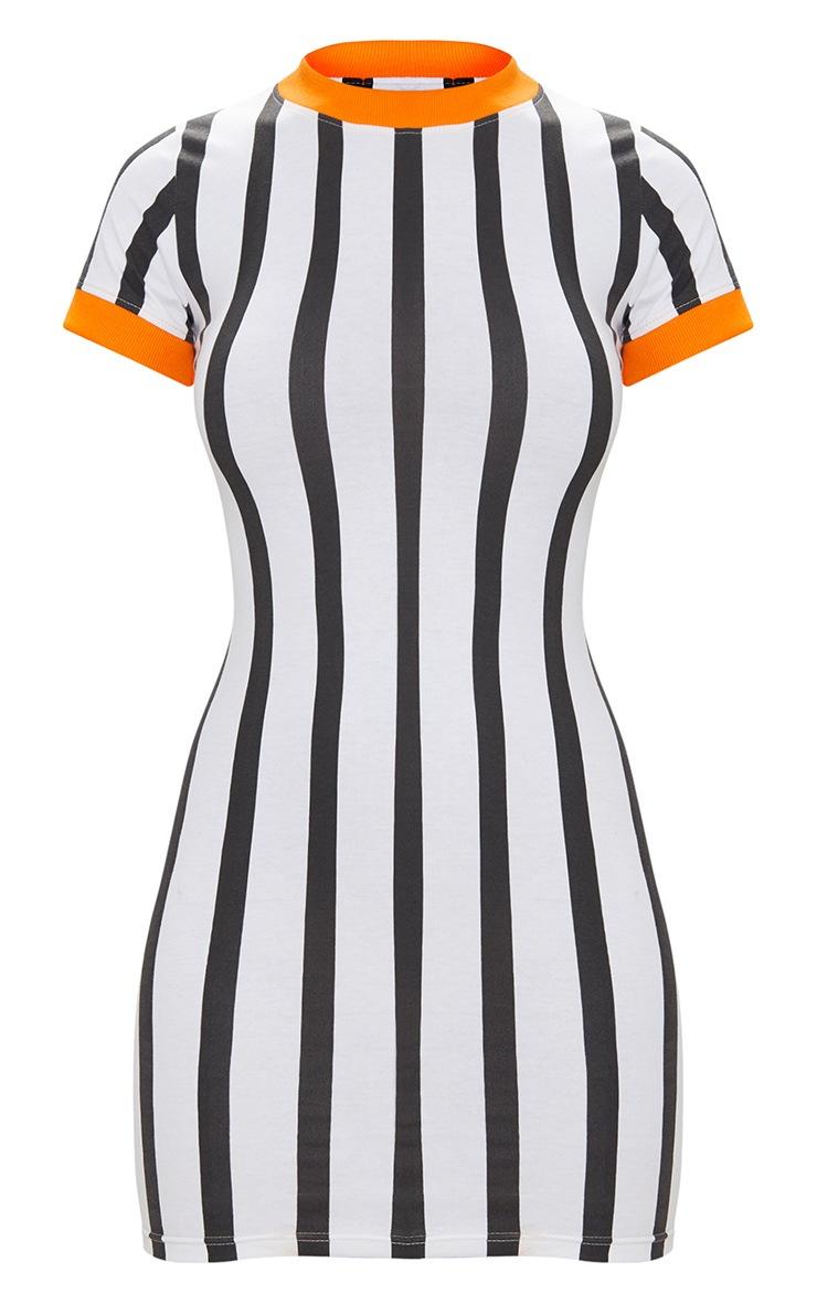 Orange Contrast Stripe Dress 3