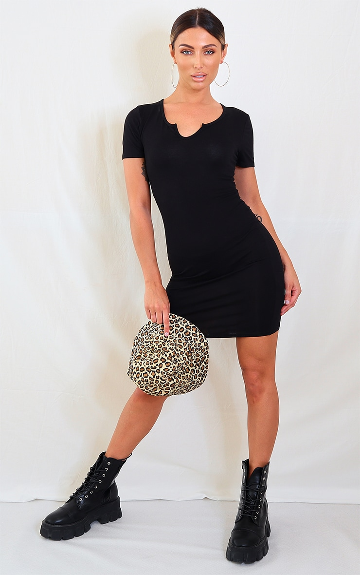 Black Jersey Split Neck Bodycon Dress 3