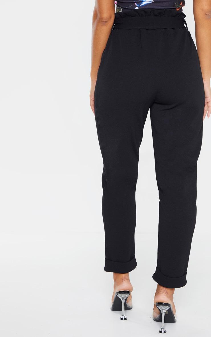 Black Crepe Tie Waist Turn Up Hem Skinny Trouser 4