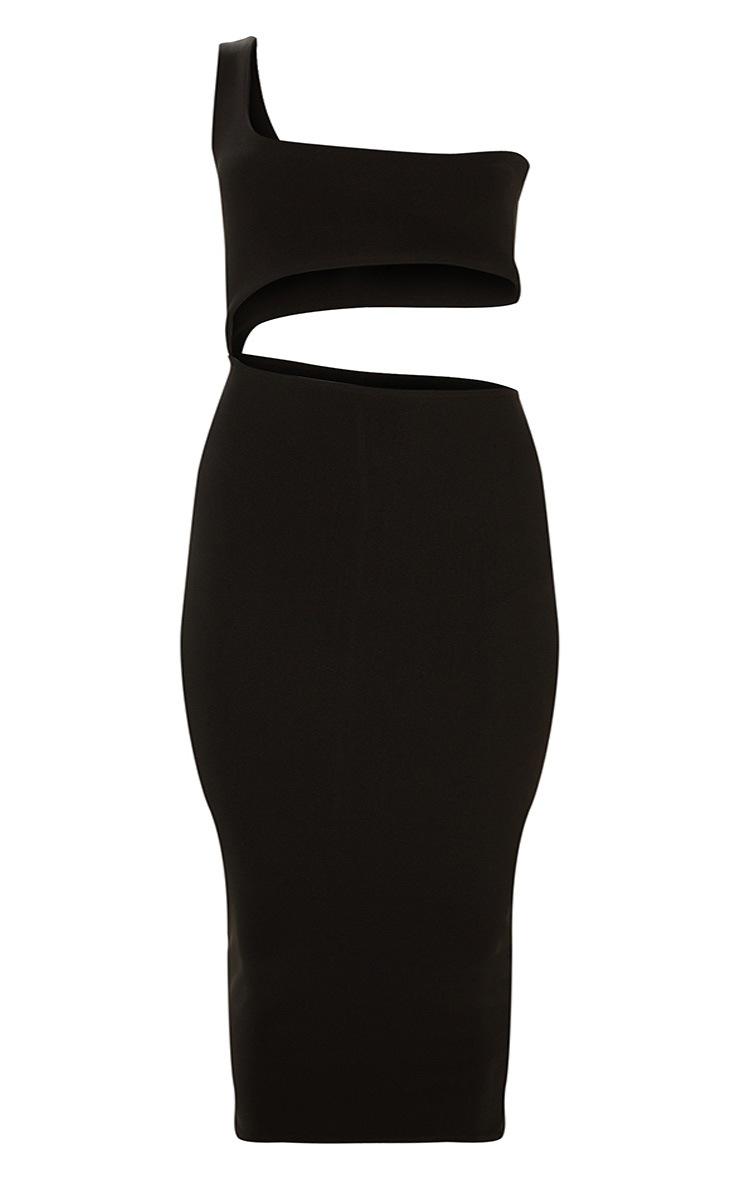 Plus Black Second Skin One Shoulder Cut Out Midaxi Dress 3