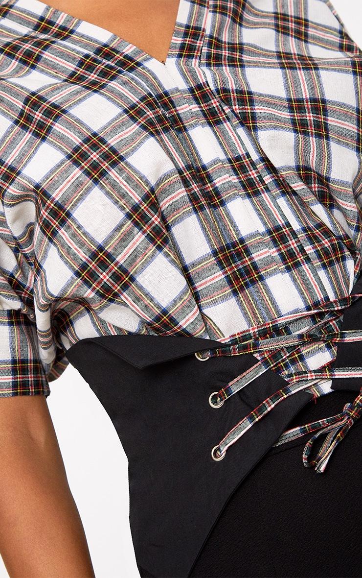 Cream Check V Neck Corset Detail Shirt 5
