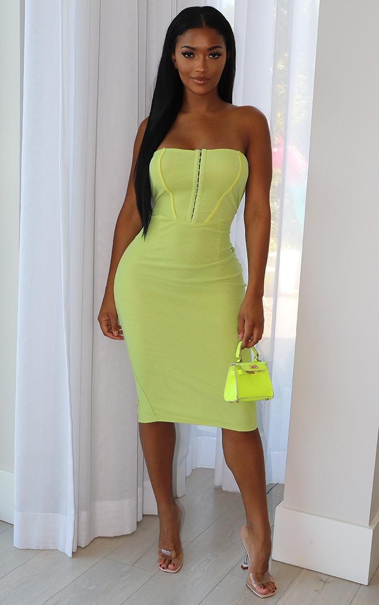 Shape Lime Mesh Binding Detail Hook And Eye Midi Dress