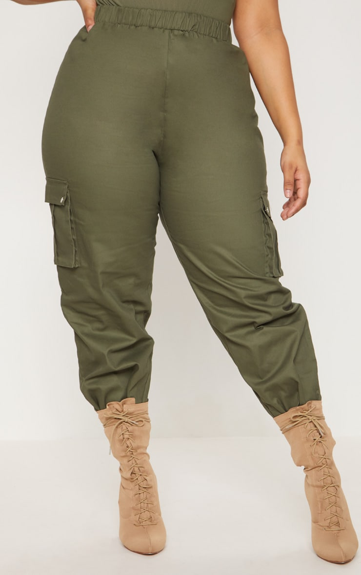 Plus Khaki Pocket Detail Cargo Trousers   2