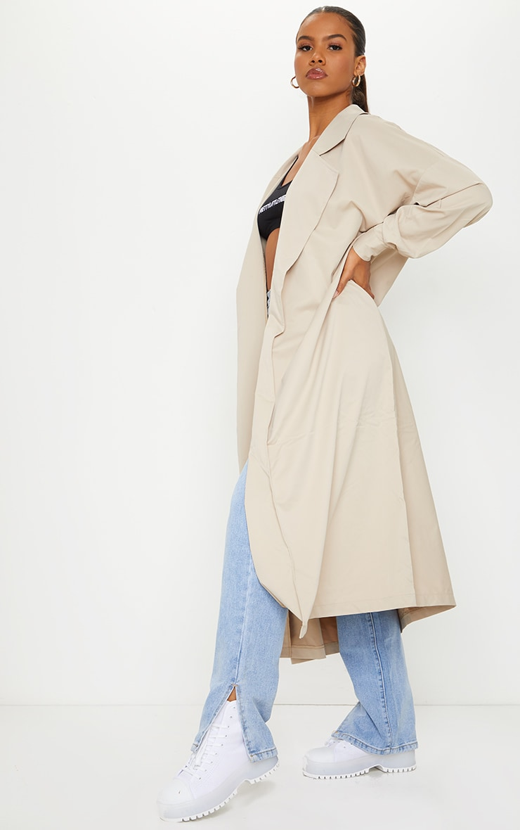 PRETTYLITTLETHING Stone Contrast Panel Trench Coat 3