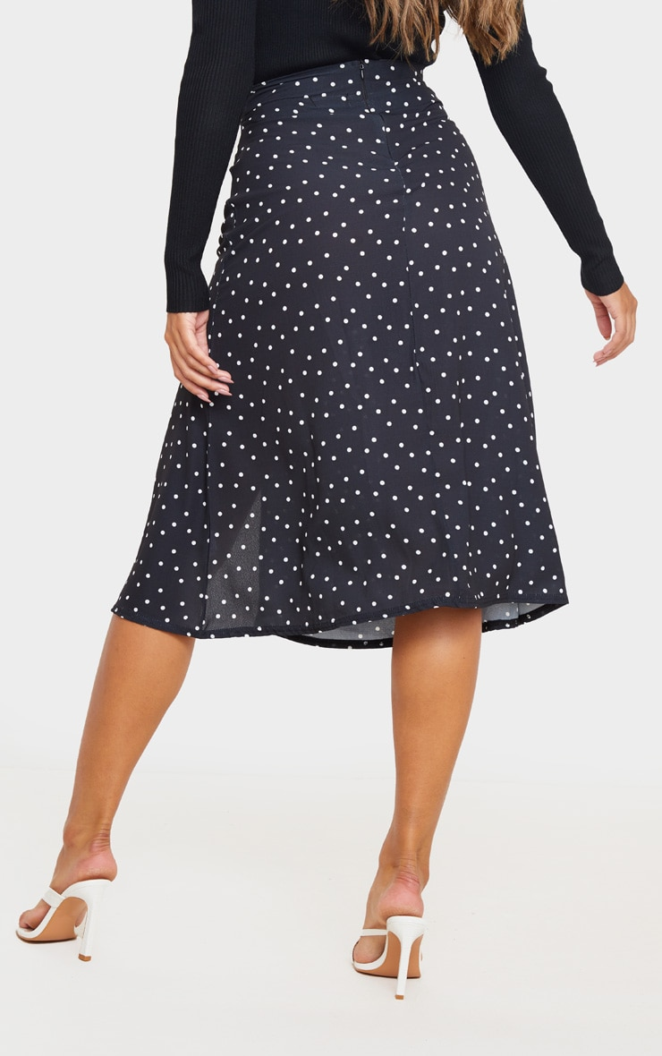Black Polka Dot Floaty Midi Skirt 3